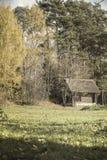 Casa abandonada rural del viejo vintage de madera, yarda del país en la franja del bosque del bosque pintoresco en otoño Imagen de archivo libre de regalías