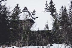 Casa abandonada vieja terrible en el bosque en las montañas cárpatas Fotos de archivo libres de regalías