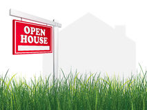 Casa aberta do ? do sinal dos bens imobiliários Fotografia de Stock Royalty Free