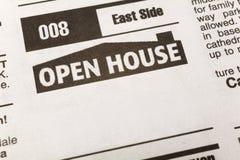Casa abierta del anuncio clasificado fotografía de archivo