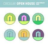 Casa abierta Logo Emblem Vector Graphic de la circular Imagen de archivo