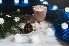 Casa accogliente di inverno Tazza di cacao con le caramelle gommosa e molle Fotografia Stock Libera da Diritti