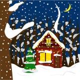 Casa acogedora del invierno en el bosque en guirnaldas brillantes Ejemplo en estilo plano stock de ilustración