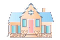 Casa aislada en blanco Casas americanas suburbanas del icono plano del vector Para el diseño web y el interfaz del uso, también Imagen de archivo