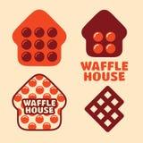 Casa ajustada do waffle do logotipo do vetor profissional moderno no tema alaranjado Foto de Stock Royalty Free