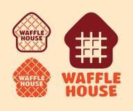 Casa ajustada do waffle do logotipo do vetor profissional moderno no tema alaranjado Fotos de Stock Royalty Free