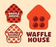 Casa ajustada do waffle do logotipo do vetor profissional moderno no tema alaranjado Imagens de Stock