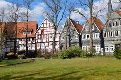 Casa alemana histórica en tiempo de primavera Imagenes de archivo