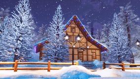 Casa alpina da madeira da montanha na noite nevado do inverno ilustração stock