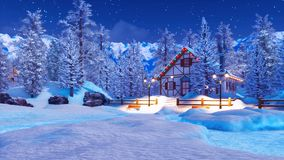 Casa alpina illuminata isolata dalla neve alla notte di inverno illustrazione vettoriale