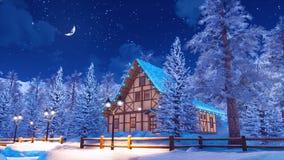 Casa alpina innevata della montagna alla notte di inverno illustrazione di stock