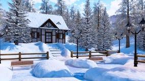 Casa alpina isolata dalla neve accogliente della montagna al giorno di inverno illustrazione vettoriale