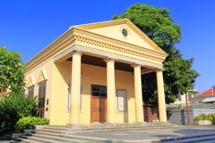 Casa amarela da igreja de união cidade na ilha de gulangyu, xiamen, porcelana Fotos de Stock Royalty Free