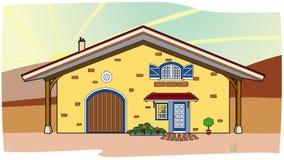 Casa amarela no campo Fotografia de Stock