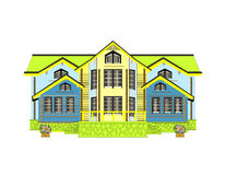 Casa amarilla Fondo blanco aislado Imagen de archivo