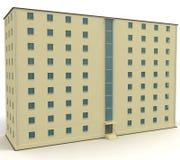 casa amarilla llana 9 con las ventanas azules Imagen de archivo