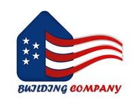 Casa americana con el ejemplo de las barras y estrellas para una tarjeta de visita stock de ilustración