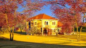 Casa americana nella rappresentazione rurale delle regolazioni 3d Immagine Stock