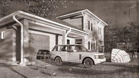 Casa americana nella rappresentazione rurale delle regolazioni 3d Fotografia Stock