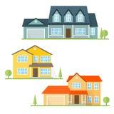 Casa americana suburbana do ícone liso do vetor Imagem de Stock Royalty Free