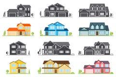 Casa americana suburbana do ícone liso do vetor Foto de Stock