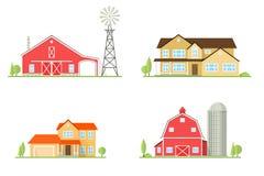 Casa americana suburbana do ícone liso do vetor Imagens de Stock