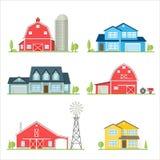 Casa americana suburbana do ícone liso do vetor Fotografia de Stock