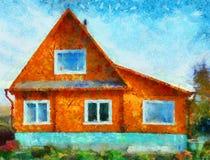 Casa anaranjada stock de ilustración