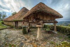 Casa antiga típica da montanha de Pallozas Fotografia de Stock