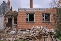 Casa após a explosão Fotografia de Stock