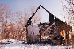 A casa após um incêndio Fotos de Stock Royalty Free