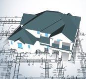 Casa architettonica. Tiraggio tecnico di vettore Fotografia Stock