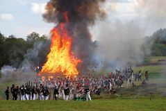 Casa ardente Reenactment de Borodino Foto de Stock Royalty Free