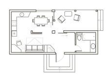 Casa arquitetónica linear do estúdio do plano de esboço Imagens de Stock Royalty Free
