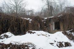 Casa arruinada abandonada vieja en el bosque del invierno Imagenes de archivo