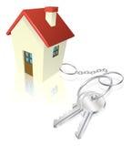 Casa asociada a los claves como keyring ilustración del vector