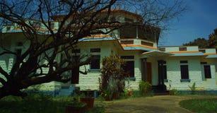 Casa assombrada velha assustador com uma árvore inoperante Foto de Stock