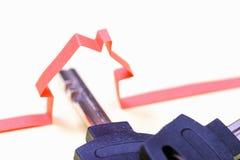 Casa astratta di carta Assicurazione del bene immobile Simbolo chiave Immagini Stock Libere da Diritti