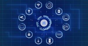 Casa astuta Concetto di sistema astuto di automazione di sicurezza domestica video 4K illustrazione vettoriale