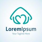 A casa azul da forma do coração do amor imagina o ícone do logotipo ilustração stock