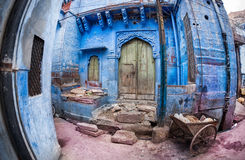 Casa azul de la ciudad en la India Imagen de archivo libre de regalías