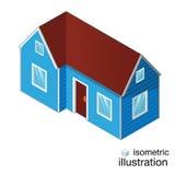 Casa azul isométrica, casa de campo em um fundo branco Fotografia de Stock