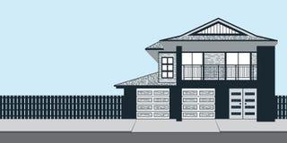 Casa azul para los anuncios o los posts de casa abierta de Real Estate Foto de archivo libre de regalías