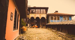 Casa búlgara vieja de Тraditional en Koprivshtica, Bulgaria Fotos de archivo