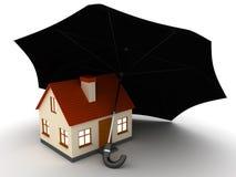 Casa bajo el paraguas Fotografía de archivo libre de regalías