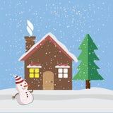 Casa bajo icono plano de la nieve Fotos de archivo