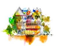 Casa bastante vieja, bosquejo con efectos coloridos del color de agua libre illustration