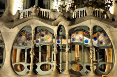 Casa Batilo - Barcelona, Spain. Gaudi's Casa Batllo's famous skull and bones balconies. The façade colours were inspired by natural corals stock photo