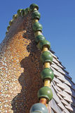 Casa Batlló, Barcelona (Dragon Mosaic). Fragment of the mosaic dragon turret on Antonio Gaudis Casa Batlló tile roof in Barcelona. Casa Batlló is a royalty free stock images