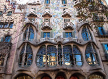 Casa Batlló in Barcelona, Spain. The colorful Casa Batlló, is one of the two great buildings designed by Antonio Gaudí on Passeig de Gràcia.  It is a Royalty Free Stock Photo